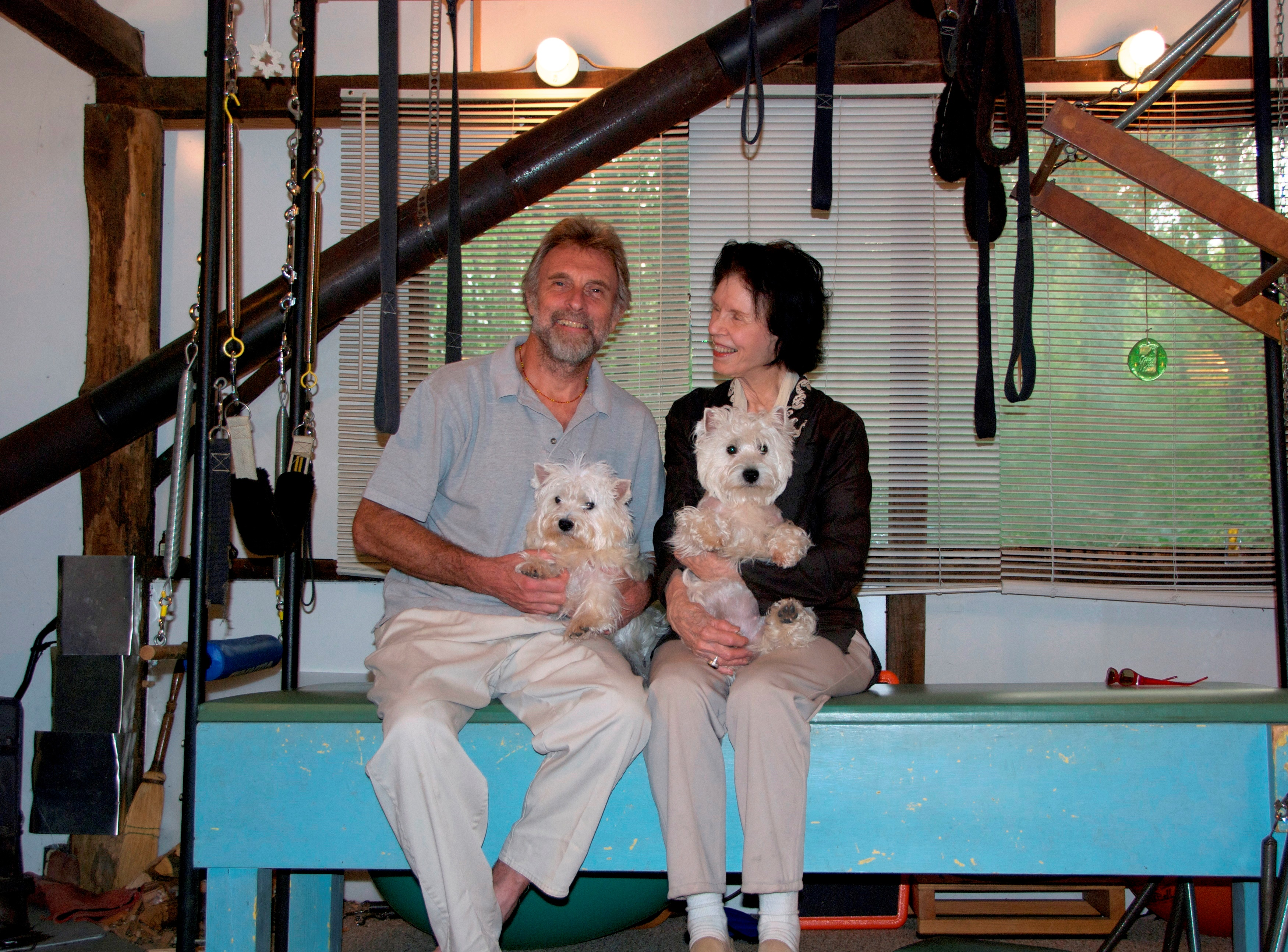 Mary and her husband Alec Martin with their two Westies